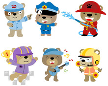 Vector Set Of Bear Cartoon