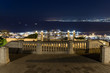 Night view from the Louis Promenade on Mount Carmel to the upper terrace of the Bahai Temple, on the downtown and on the port of Haifa city in Israel