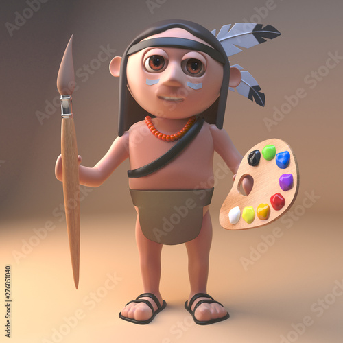 Artistic Native American Indian holding a paintbrush and palette, 3d illustratio Canvas-taulu