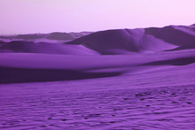 Surreal Pop Art Styled Vibrant Purple Colored Desert With Fantastic Sand Ripples And Sand Dunes