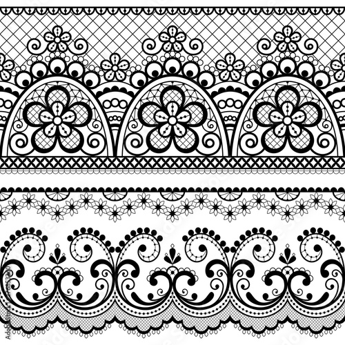 Valokuva  Decorative vintage lace seamless vector pattern, ornamental repetitive design wi