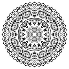 Mandala Retro Lace Vector Pattern, Round Design With Flowers And Swirls In Black On White Background