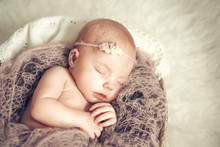 Newborn Baby Girl Sleeping In ...
