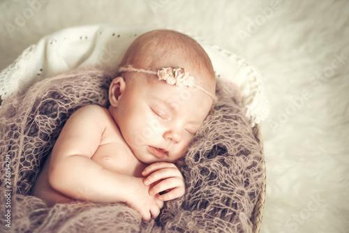 Photo Newborn baby girl sleeping in a basket