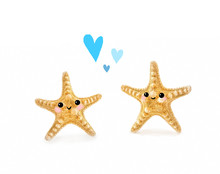 Lovely Couple Starfish On White Background. Baby Starfish Cute Kawaii Style Face. Create Concept Of Nature Relaxation, Recreation, Travel, Love And Friendship. Close Up, Soft Selective Focus