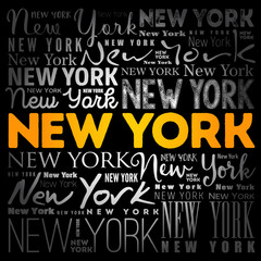 Panel Szklany Nowy York New York wallpaper word cloud, travel concept background