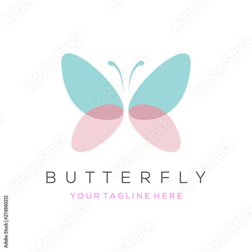 Fotografie, Obraz  Colorful butterfly logo. Overlay transparent sheets style.