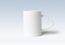 Blank Mug Mockup With Heart Handle Isolated On Grey Background 3d Rendering