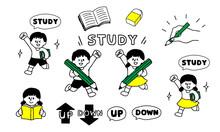 勉強する男の子女の子...