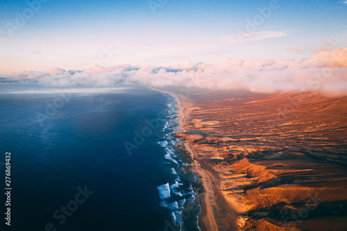 Cadres-photo bureau Rose clair / pale Aerial View Of Cofete Beach Valley In Fuerteventura