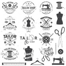 Tailor Shop Badge. Vector. Con...