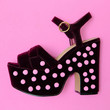canvas print picture Stylish creative shoes with heels. Minimal flat lay art