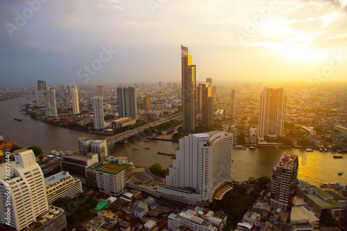 Cityscape in Bangkok Thailand and river with sunset Canvas Print