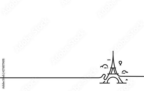 Paris, Eiffel tower, Paris cartoon art, postcard, Line art vector illustration