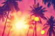 Leinwandbild Motiv Tropical palm tree with colorful bokeh sun light on sunset sky cloud abstract background.