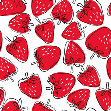 Seamless Pattern Of Abstract  Hand Drawn Strawberries On White Background. Fruit Illustration.