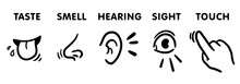 Five Senses Icon Set, Funny Hand-drawn Educational Vector Illustrations For Kids (5 Feelings Of Human)