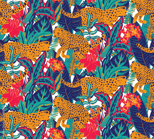 obraz PCV Vestor seamless pattern with jaguars, tropical leaves and flowers.