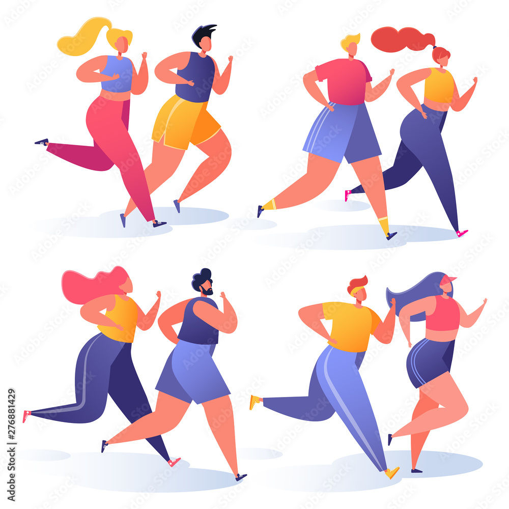 Fototapety, obrazy: Summer outdoor sports activities. Vector illustration with couples of people characters running, doing workout outside. Flat, cartoon, trendy, healthy lifestyle concept, sports theme.