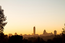 Sunrise Over Sandton Skyline In Johannesburg, South Africa, Africa. Silhouette Of Sandton Buildings. Sandton And Nelson Mandela Square Are Popular Tourist Destinations.