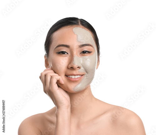 Fototapety, obrazy: Beautiful Asian woman with facial mask on white background