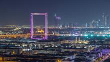 Dubai Frame With Zabeel Masjid Mosque Illuminated At Night Timelapse.