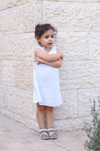 Pensive Cute Little Girl With ...