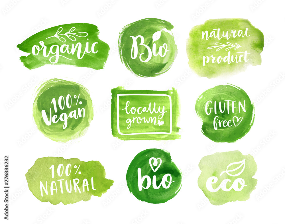 Fototapety, obrazy: Eco, organic food labels. Vector green abstract hand drawn watercolor background. Natural, organic food, bio, eco design elements.