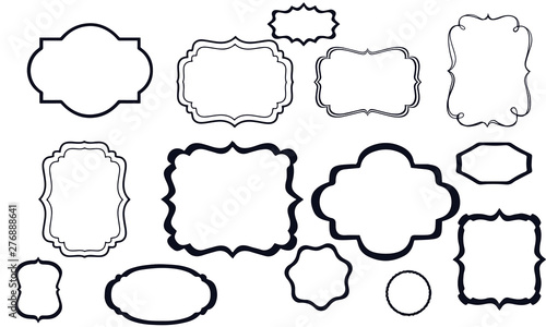 Photo frames and labels vector design black and white