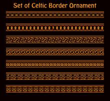 Illustration Of A Set Of Seamless Golden Celtic Ornament For Border And Frames