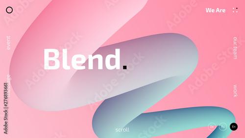 3D gradient trendy wallpaper design for web site, colorful blend fluid shapes is Wallpaper Mural