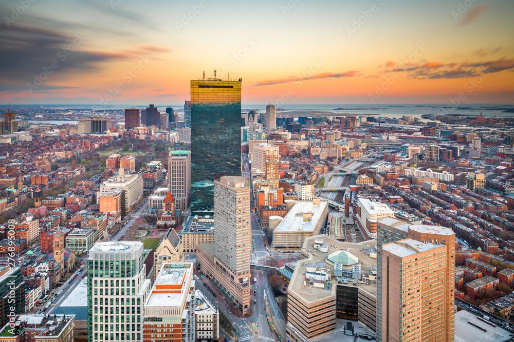 Boston, Massachusetts, USA cityscape at dusk.