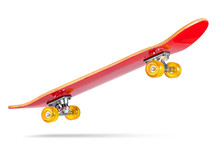 Red Skateboard Deck, Isolated On White Background. File Contains A Path To Isolation