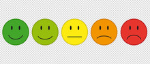 Color Faces For Feedback Or Mood - 5 Vector Icons Isolated On Transparent Background