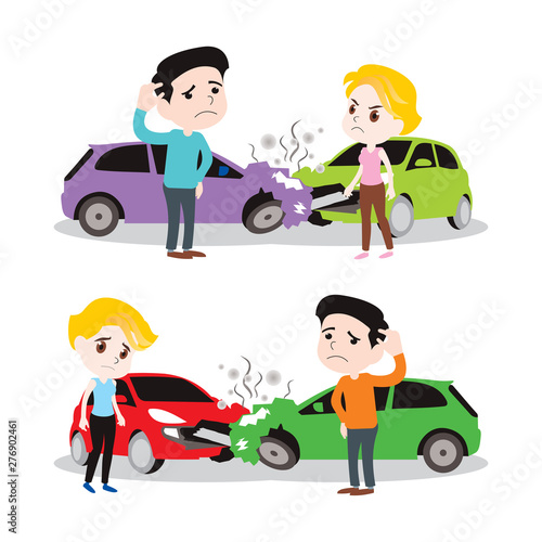 Recess Fitting Cars man and woman got car accident. vector illustration isolated cartoon hand drawn. fill bad danger