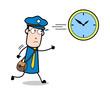 Running Behind the Clock - Retro Postman Cartoon Courier Guy Vector Illustration