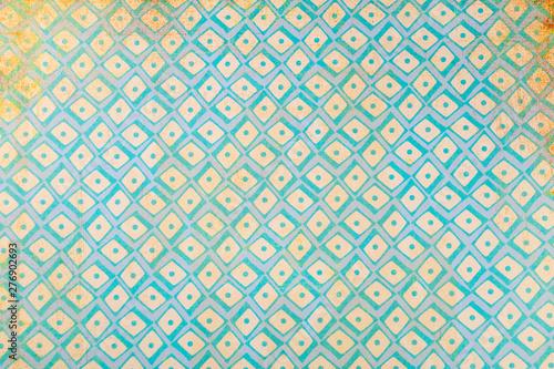 Ressource graphique vintage style grunge dans les tons jaune et bleu - motif géo Canvas-taulu