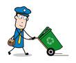 Recycle Bin - Retro Postman Cartoon Courier Guy Vector Illustration