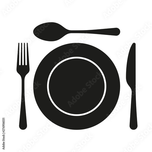 Canvastavla Dining flat icon with plate, fork and knife for apps and websites
