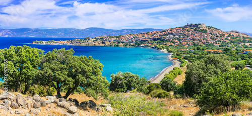 Panoramic view of beautiful Molyvos town in Lesvos island. best of Greece series