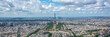 Aerial panoramic scenic view of Paris with the Eiffel tower, France and Europe city travel panorama