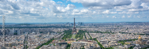 Poster Paris Aerial panoramic scenic view of Paris with the Eiffel tower, France and Europe city travel panorama