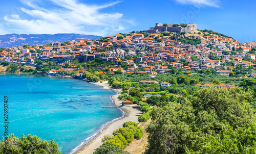 travel in Lesvos island - view of beautiful Molyvos (Molivos) town Canvas Print