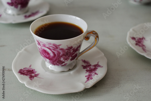 Coffee in vintage porcelain cups Canvas Print