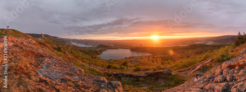 Fotografia Panorama of St Johns Newfoundland from the top of Signal Hill National Historic Site at sunset