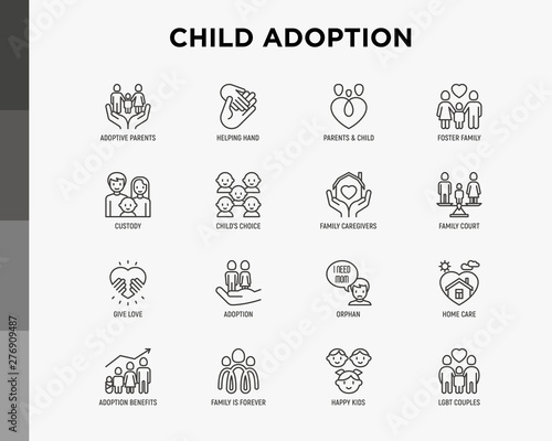Child adoption thin line icons set: adoptive parents, helping hand, orphan, home care, LGBT couple with child, custody, cargivers, happy kid Wallpaper Mural