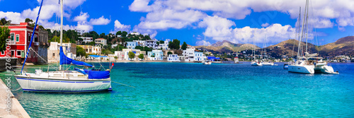 Beautiful Greek island Leros. Dodecanese. view of Agia Marina with sailing boats