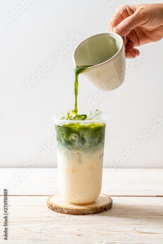 Photo iced matcha latte green tea