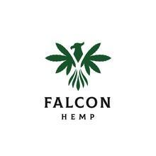 Falcon With Hemp Leaf As Wings Logo Design