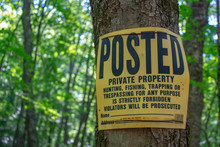 Tree Posted Sign Private Prope...